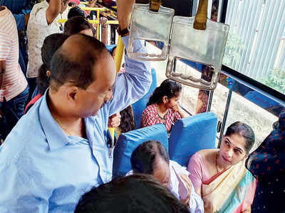 BMTC officials step into commuters' shoes, travel in bus to inspect new bus lanes