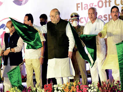 Amit Shah in city: Praise for covid fight, relief for CM Yediyurappa