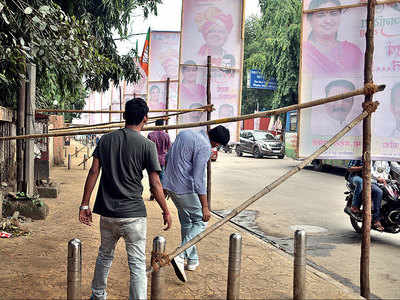 City defaced, choked as leaders take over every inch of space for Janadesh Yatra