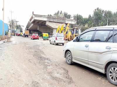 No land, yet flyover construction is on