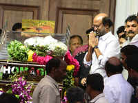 Karunanidhi funeral update: Rajinikanth pays last respect to DMK patriarch at Rajaji Hall