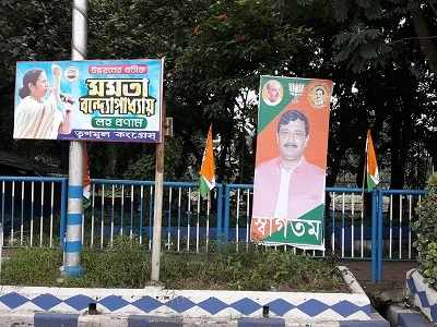 War of cut-outs ahead of Amit Shah rally: Mamata Banerjee flexes muscle with banners and festoons
