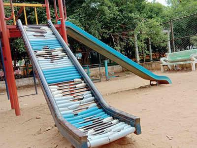 A children's park slides into danger in Jalahalli