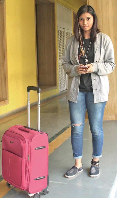 NIFT student designs trolley bag fitted with blue tooth connectivity, can be easily moved around by mobile