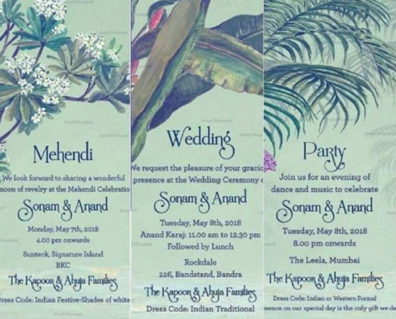 The couple chose to go with nature while designing their wedding card