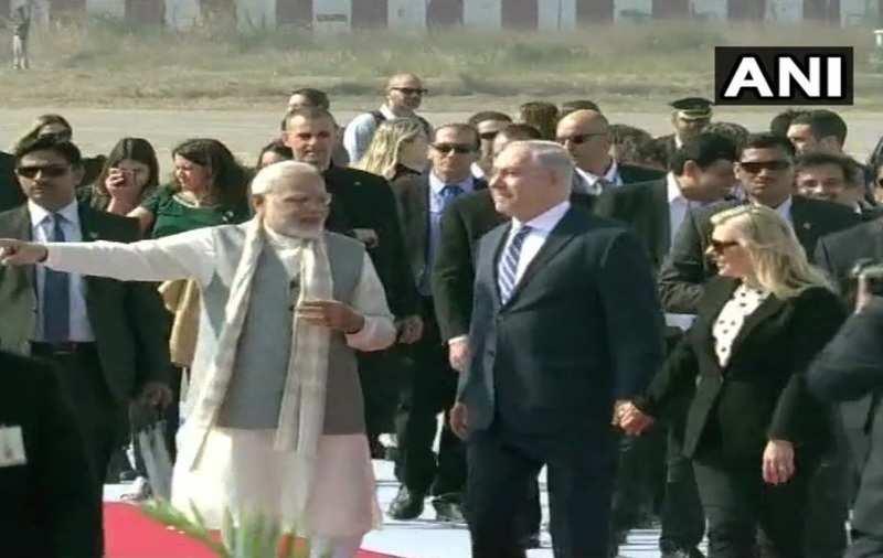 PM Narendra Modi welcomes Israeli counterpart Benjamin Netanyahu, wife Sara Netanyahu in Ahmedabad