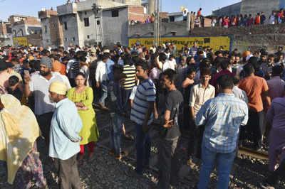 Amritsar train tragedy: Police remove protestors from tracks