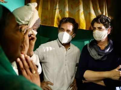 Rahul Gandhi, Priyanka Gandhi Vadra meet Hathras victim's family