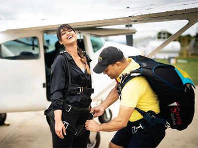 Ileana D'Cruz goes sky-diving in Fiji