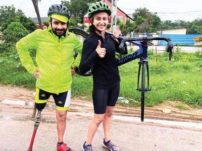Rakul Preet's adventure cycle ride in Hyderabad