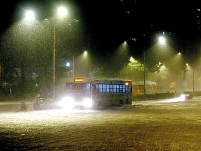 BEST drivers, conductors spend rainy night in buses