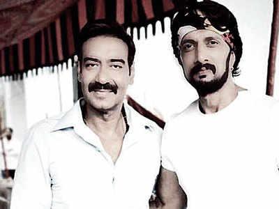 Sudeep Kichcha meets Ajay Devgn in Hyderabad