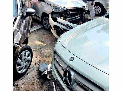 Satellite woman rams her Merc into three parked cars, booked