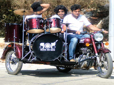 Two Bengaluru brothers have repurposed a motorcycle with a drum kit, an amplifier