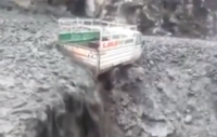 Watch: Mudslide sweeps truck into deep gorge in Kullu