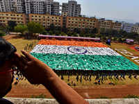 Pune: 3635 students formed the Indian Flag ahead of 70th Republic Day celebrations