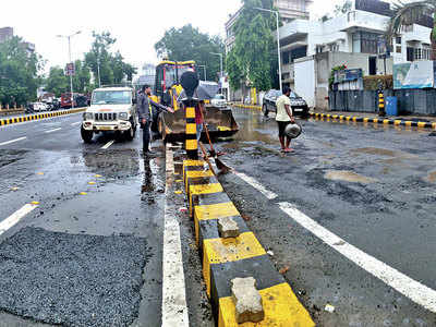 First spell of rain turns A'bad into pothole city