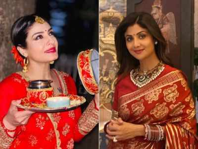 Photos: Shilpa Shetty Kundra, Natasha Dalal, Raveena Tandon, celebrate Karwa Chauth, stun in ethnic wear