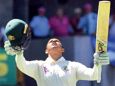 Australian batsman Usman Khawaja scores his first Ashes century