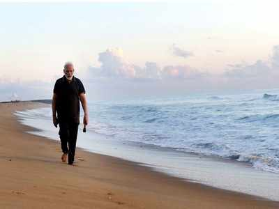 PM Narendra Modi's 'plogging' on Mamallapuram beach