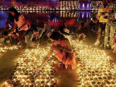 Over 3 lakh 'diyas' lit on banks of Sarayu river in new world record