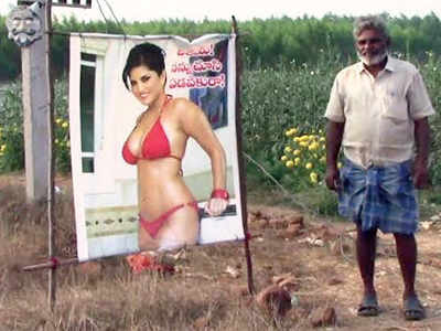 A Sunny Leone 'starecrow' to save crops from evil eye