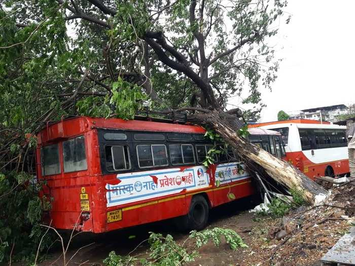 A state transport bus damaged after a tress collapsed on it at Pen bus depot in Raigad district.
