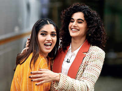 Bhumi Pednekar, Taapsee Pannu spotted in Filmcity