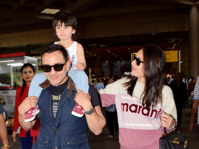 In Photos: Saif Ali Khan, Kareena Kapoor Khan and Taimur return from London