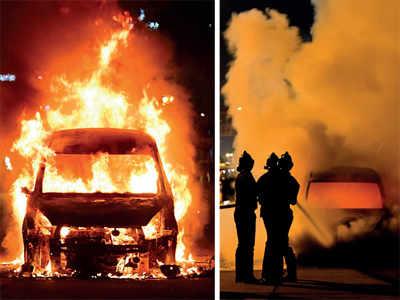 Narrow escape for 3 as car catches fire