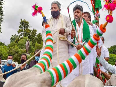 Congress leaders ride bullock carts to protest fuel price hike