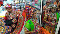 Mumbai: Women shop for traditional Garba dresses ahead of Navratri festival
