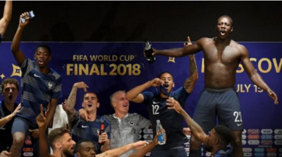 2018 FIFA World Cup: French players gate-crash coach Didier Deschamps' post-match press conference