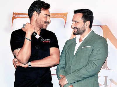 Ajay Devgn and Saif Ali Khan bond on International Men's Day at the Tanhaji Trailer launch