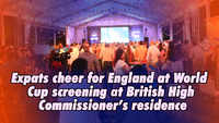 Expats cheer for England at World Cup screening at British High Commissioner's residence