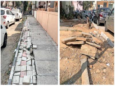 Jayanagar's footpaths are wearing off