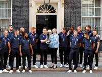 British PM Theresa Theresa May welcomes victorious England team