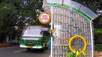 Kochi: A bus shelter made from discarded plastic bottles and tyres
