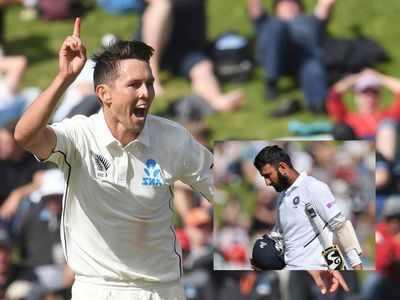 India vs New Zealand 1st Test: Trent Boult removes Cheteshwar Pujara to keep NZ ahead