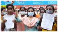 COVID crisis: Nurses protest against sudden removal, demand unpaid salaries in Visakhapatnam