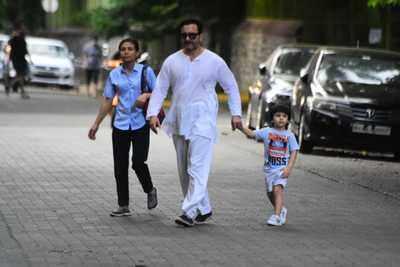 Saif Ali Khan, Kareena Kapoor and son Taimur spotted at Mumbai's Marine Drive