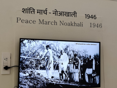 Life-size images of Mahatma Gandhi replaced with smaller digital panels at Gandhi Smriti; grandson expresses outrage