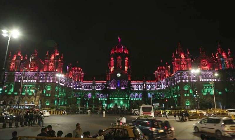 Chattrapati Shivaji Maharaj Terminus Illuminated in colours of the Indian flag