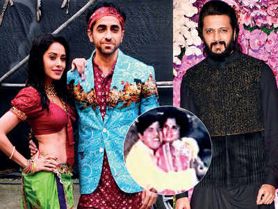 Riteish Deshmukh shakes a leg with Ayushmann Khurrana and Nushrat Bharucha in the recreated version of an iconic Dada Kondke song