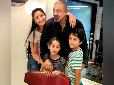 Sanjay Dutt gives surprise visit to twins Iqra and Shahraan on their ninth birthday