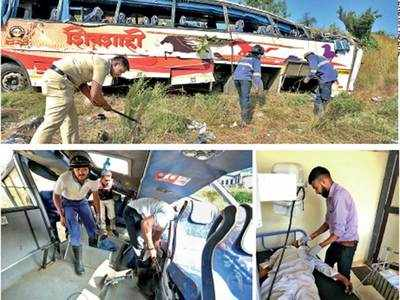 2 dead, many injured as MSRTC bus falls in ditch