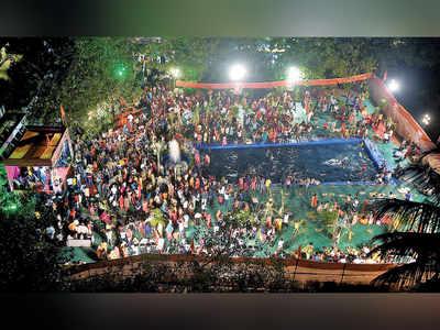 Thousands gather for Sena MLA's Chhath events despite curbs
