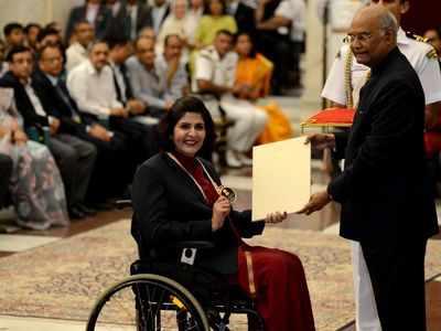 Deepa Malik receives Khel Ratna, Bajrang Punia and Ravindra Jadeja miss awards ceremony
