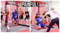 Painful: This weightlifter's knees give way during a 400 kg squat