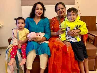 The internet can't stop gushing over Hema Malini's adorable pictures with her grandkids